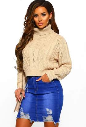 Pink Boutique By The Fire Stone Chunky Cable Knit Turtle Neck Jumper