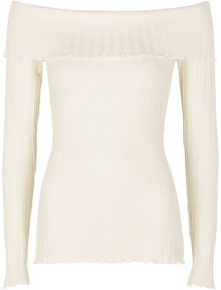 Simon Miller Bauer White Off-the-shoulder Jersey Top