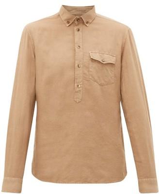 Brunello Cucinelli Half-button Linen-blend Shirt - Mens - Beige