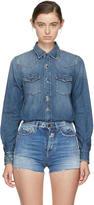 Saint Laurent Blue Embroidered Denim Shirt