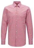 HUGO BOSS Gingham Italian Cotton Linen Dress Shirt, Slim Fit Jenno 15 Red