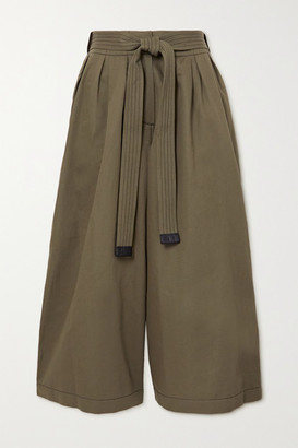 Loewe Belted Cropped Cotton And Linen-blend Wide-leg Pants - Army green