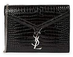 Saint Laurent Women's Cassandra Croc-Embossed Patent Leather Wallet-On-Chain