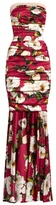 Dolce & Gabbana Peony-print strapless silk-blend satin gown