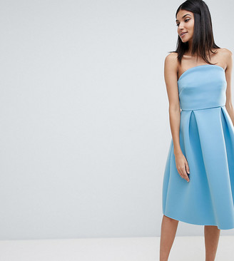 Asos Tall DESIGN Tall bandeau crop top prom midi dress-Blue