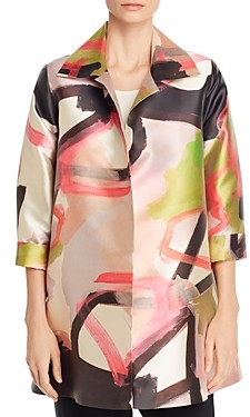 Caroline Rose Printed Open-Front Long Jacket
