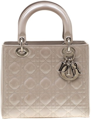 Christian Dior Lady Grey Patent leather Handbags