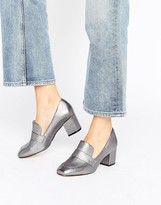 Aldo Emmaline Pewter Leather Block Heeled Loafers