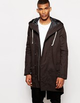 Asos Fishtail Parka Jacket In Black - Black