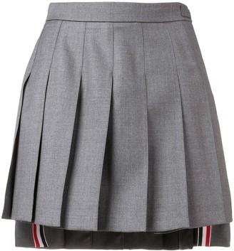 Thom Browne Grey Wool Dropped Back Mini Pleated Skirt