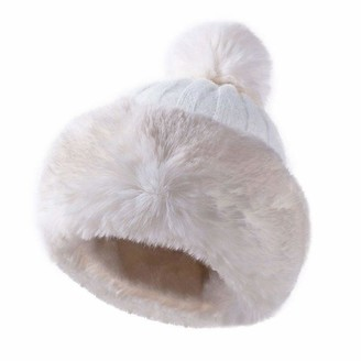 YOUMU Women Faux Fur Knitted Bobble Beanie Hat Pom Pom Ball Cossack Russian Winter (Grey)