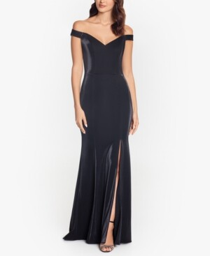 Xscape Evenings Off-The-Shoulder Metallic Gown