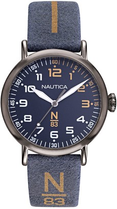 Nautica Men's Blue and Tan N83 Leather Strap Watch