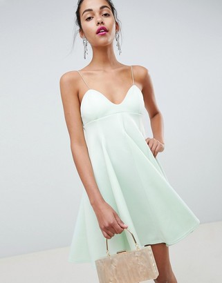Asos Design DESIGN cami babydoll swing mini dress-Orange