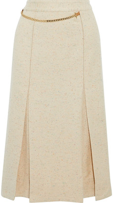 Victoria Beckham Chain-detailed Pleated Donegal Silk-blend Tweed Wrap Skirt