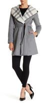 DKNY Plaid Shawl Collar Coat