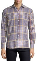 Etro Plaid Flannel Long-Sleeve Sport Shirt, Multi