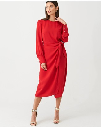 Very Tie Front Midi Dress - Red