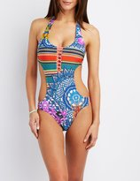 Charlotte Russe Printed Cut-Out One-Piece Swimsuit