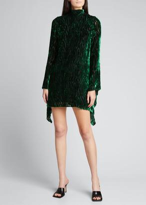 Halpern Velvet Burnout Long-Sleeve Mini Dress