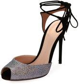 Gianvito Rossi Metallic Peep-Toe Ankle-Tie Sandal, Silver