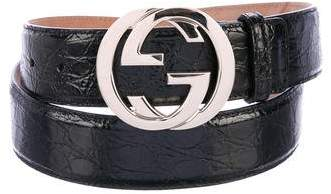 Gucci Crocodile GG Belt