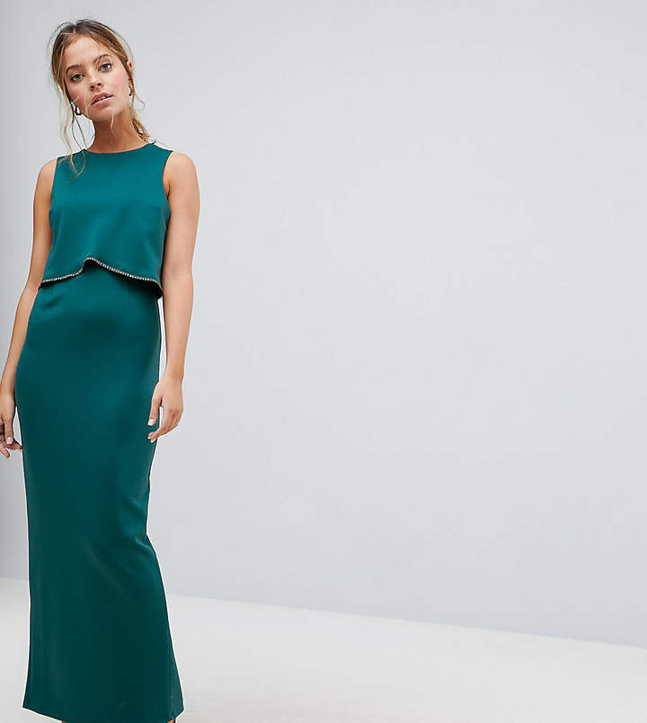 Asos Crop Top Maxi Dress with Embellished Trim