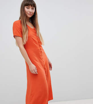 New Look Button Front Midi Tea Dress-Orange