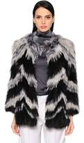 Yves Salomon Chevron Fox Fur Jacket