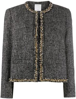 Sandro Paris Fringe-Trim Tweed Jacket