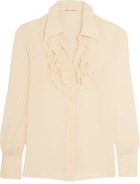 Saint Laurent Ruffled Silk-georgette Shirt - Cream