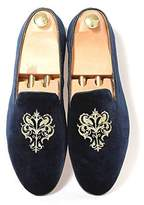 Fulinken Men's Fashion Velvet Slip-on Shoes Round Toe Slippers Mens Casual Embroidered Loafers Black / Blue / Red (8.5, )