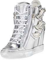 Giuseppe Zanotti Metallic Wings Wedge Sneaker, Silver