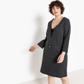Castaluna Plus Size Deep V-Neck Striped Shift Dress