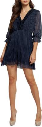 Dex Ruffled Dot-Print Mini Dress