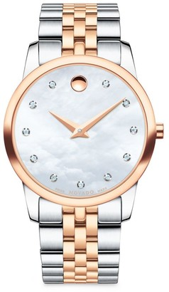 Movado Museum Classic Diamond, Mother-of-Pearl, Rose Gold & Stainless Steel Link Bracelet Watch
