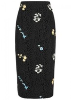No.21 Black Floral-embroidered Lace Pencil Skirt