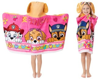Paw Patrol Kids Bath and Beach Soft Cotton Terry Hooded Towel Wrap, 24a x 50a, Pink