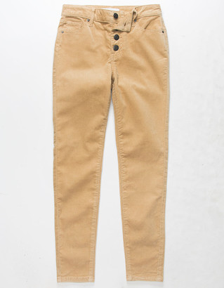 RSQ Ibiza Exposed Button Corduroy Girls Camel Skinny Jeans