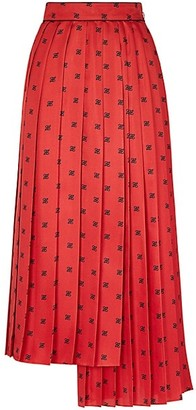 Fendi Asymmetrical Pleated Midi Silk Skirt