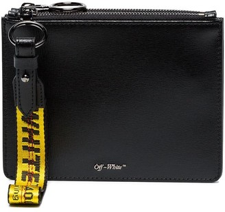 Off-White Black double flat leather pouch
