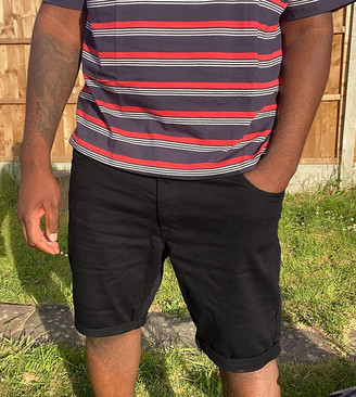 Burton Menswear Big & Tall skinny denim shorts in black