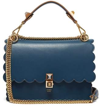 Fendi Kan I Leather Shoulder Bag - Womens - Blue