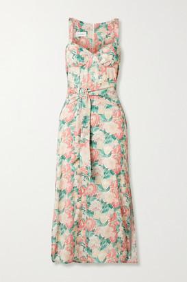 ART DEALER Belted Floral-print Silk-blend Georgette Midi Dress - Pink