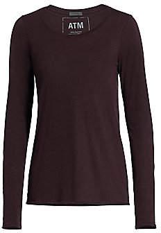 ATM Anthony Thomas Melillo Women's Heathered Jersey Long Sleeve Top