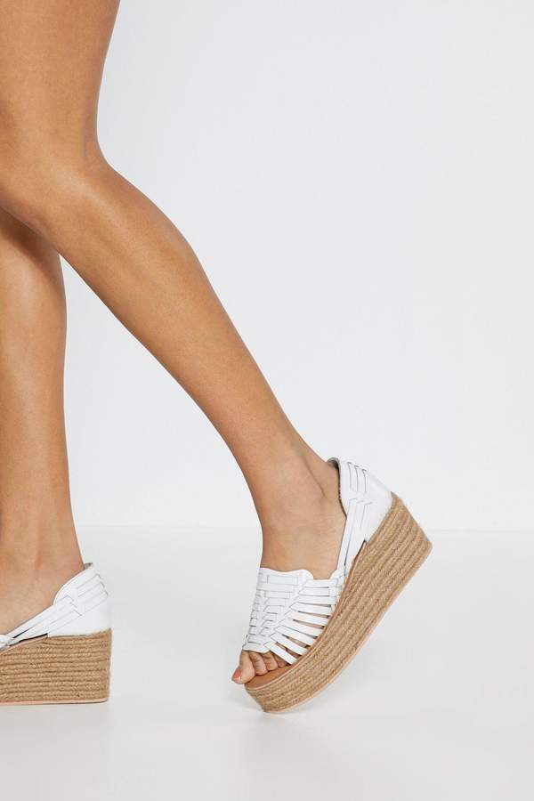 36499bc632b Womens Weave Got Work To Do Leather Espadrille Wedges - White - 7, White