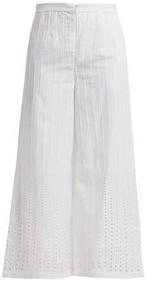 Le Sirenuse Le Sirenuse, Positano - Natalie Stripe Embroidered Twill Trousers - Womens - White
