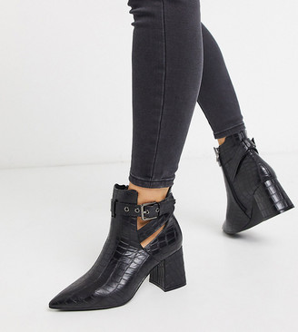 Simply Be wide fit strap heel ankle boot in black croc