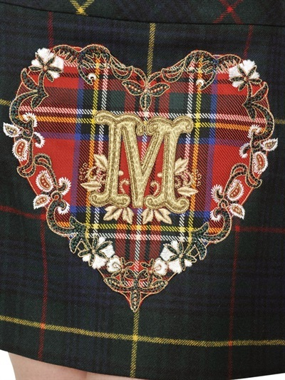 Moschino Heart Heavy Virgin Wool Tartan Skirt