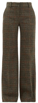 Bella Freud David Checked Wool Tweed Wide Leg Trousers - Womens - Brown Multi